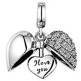 Lovans Abalorio de plata de ley 925 con forma de corazón para pulseras Pandora, Cristal, Circonita cúbica sintética Cubic Zirconia,