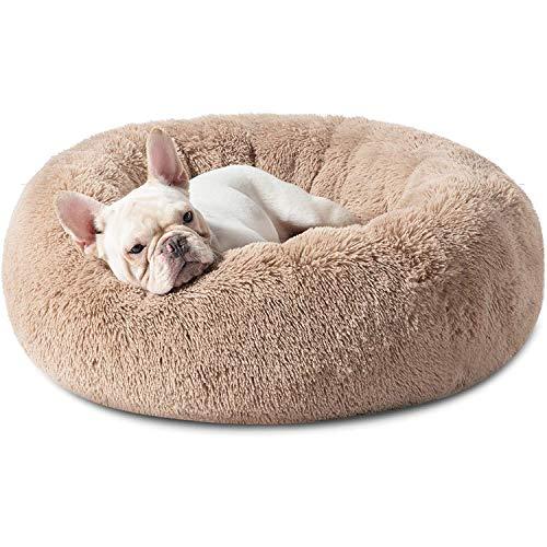 Haustierbett Hundebett Katzenbett Rund Weich und Weich für Haustiere/Welpen/Haustier/Katzenbett in Doughnut-Form (60cm Khaki)