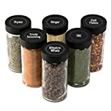 AllSpice 4 Ounce Glass Spice Jars (Same Size as Penzeys and Spice House) with Black...