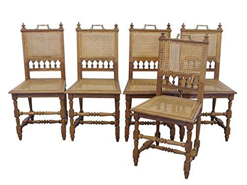 5 Stühle Antik um 1880 Eiche mit Stuhl-Gefecht   Stuhlgruppe Esszimmerstühle   mit Messinggriff (9426)