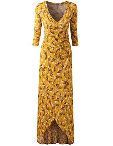 Doublju Women's Long Sleeve Casual Plain Simple T-Shirt Loose Dress MUSTARDFLORAL XL