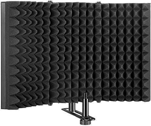 HEXIN Schermo Isolante per Microfono, Pannello Assorbente Ripiegabile con Schiuma Riflettente, Schermo di isolamento del microfono di registrazione in studio (nero)