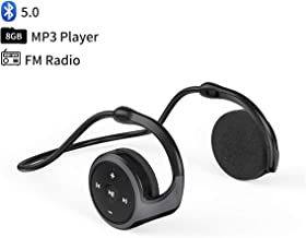 $29 » Wearable MP3 Player 8GB, Neckband Bluetooth 5.0 Headset with FM Radio, Sweat-Proof Sports Wrap Around Earphone, Mini HiFi Music Player, Foldable Headphones with Mic & Hooks Over-Ear, 12H Playtime