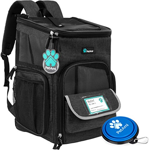 PetAmi Pet Carrier Backpack for Small Cats, Dogs, Puppies | Airline Approved | Ventilated, 4 Way Entry, Safety and Soft Cushion Back Support | Collapsible for Travel, Hiking, Outdoor (Charcoal)
