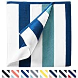 "Cabana Beach Towel by Laguna Beach Textile Co, Oversized Marine Blue & Sea Glass Green Summer Sunbathing and Pool Side Lounge Comfort, Plush Cotton Softness with Colorful Stripes, Large 70"" x 35"""
