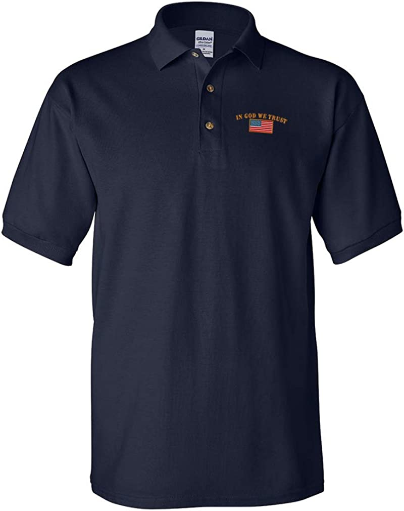 Polo Shirts for Men in God Embroidery Flag Popular brand discount the world Cot American We Trust
