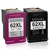 BunToner Cartouches d'imprimante compatibles HP 62XL pour HP OfficeJet 5740 5742 5744 5745 5746 eAIO Envy 7640 7645 5640 5642 5644 5646 eAIO (Noir, Couleur)