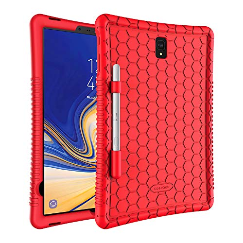 FINTIE Case for Samsung Galaxy Tab S4 10.5 Inch Tablet (SM-T830/T835/T837) - [Honey Comb Series] Light Weight Shock Proof [Kids Friendly] Anti Slip Silicone Protective Cover, Red