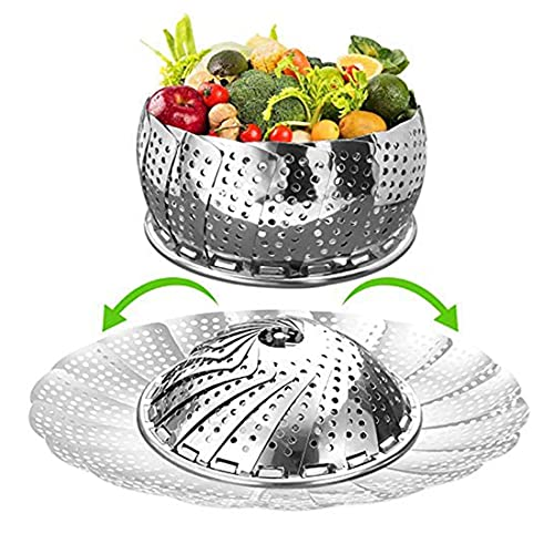 Collapsible Vegetable Steamer Basket for Instant Pot Stainless Steel Metal Veggie Steamer Insert for Cooking, Folding Expandable Steamers to Fits Various Size Pot,Pot in Pot - Egg Rack(7.5' to 12')…