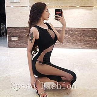 (Speed Fashion)超sexyなノースリーブ ミモレドレス 透明な誘惑、魅力なタイトワンピース