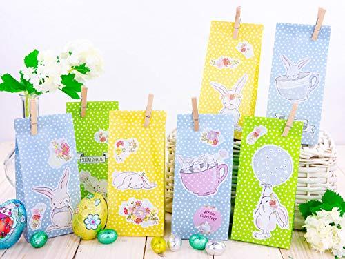 Papierdrachen 12 Osternester für Kinder und Erwachsene - DIY Osterkörbchen zu Ostern - Motiv Osterhase - Ostergeschenke für Kinder - Set 5