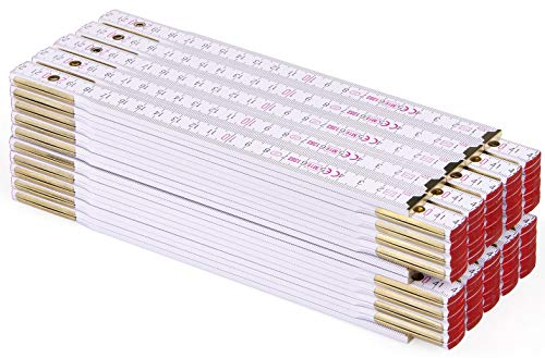 Metrie PERFEKT Holz Zollstock/Zollstöcke 10x Stück|2m langer Gliedermaßstab, Meterstab mit Duplex-Teilung - Weiß, Hergestellt in der EU