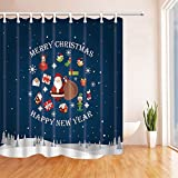 NJMRZX - Cortinas de ducha para baño de Papá Noel con bolsa en tela de poliéster de Nochebuena, impermeable, cortina de baño, ganchos incluidos, 71 x 71 pulgadas