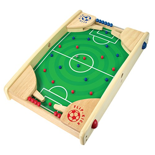 Flipkick: Wooden Tabletop Football/Soccer Pinball Games, Indoor Portable Sport Table Board for Kids and Family