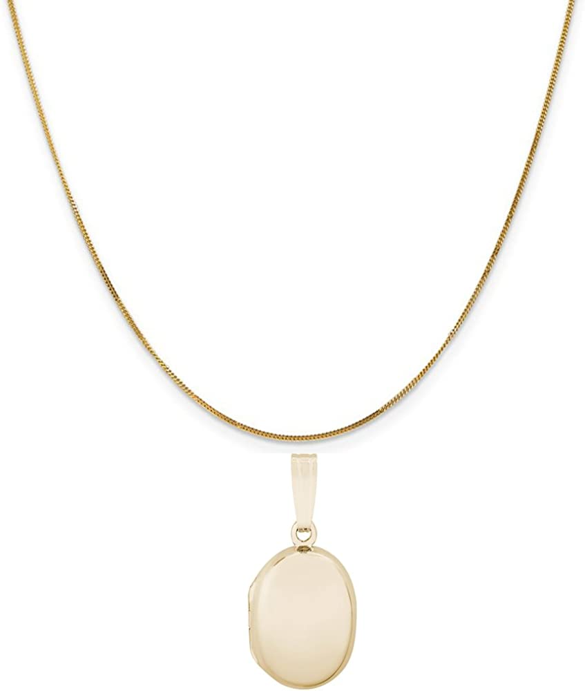 Rembrandt Charms 14K Yellow Gold Plain Oval Locket Charm on a 16, 18 or 20 inch Rope, Box or Curb Chain Necklace