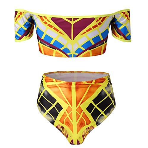 LZRDZSW Conjunto de bikini de verano con estampado africano, cintura alta, traje de baño de poliéster para mujer, colores vivos adecuados para playa, piscina (color: multicolor, talla: S)