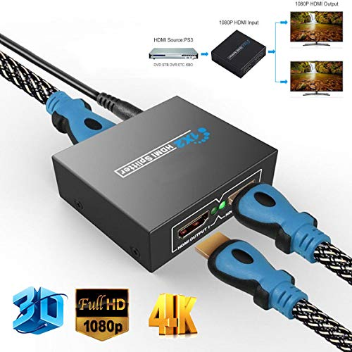 SSSabsir Full HD HDMI Splitter 1X2 Repeater Amplifier 3D 1080p 4K Switch Box 1 in 2 out