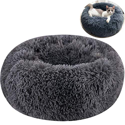 TINTON LIFE Luxury Faux Fur Pet Bed for Cats Small Dogs Round Cuddler Oval Plush Cozy Self-Warming Cat Bed for Improved Sleep, Dark Grey S