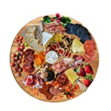 LUX LOVE LIFE LUXURY American Oak Wood Diameter 19 inches Oversized Serving Board | Large Cheese Board | Charcuterie Board for Serving Cheeses, Meats, Crackers, and Wine | Unique Gift (Round Board)