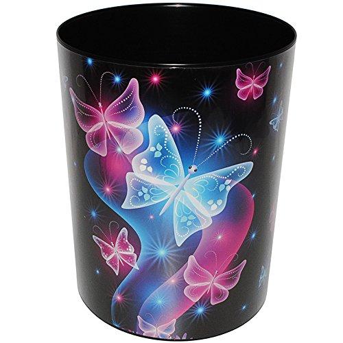 alles-meine.de GmbH Papierkorb / Behälter -  Schmetterlinge & Blumen  - aus Kunststoff - Mülleimer / Eimer - Aufbewahrungsbox für Kinder / Büro - Mädchen & Jungen - Abfalleimer..