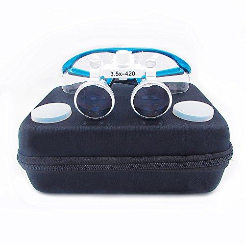 Inmedy 3.5X420mm Binocular Eyeglasses Dental Surgical Medical Binocular Loupe Magnifier (Blue)
