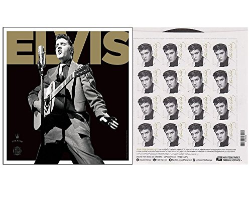 Elvis Presley Sheet of 16 USPS Forever First Class Postage Stamps Rock-and-Roll King (1 Sheet of 16 Stamps)