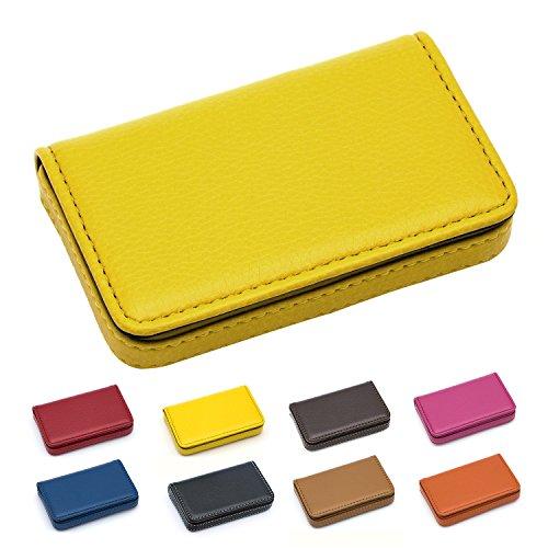 Padike Padike Visitenkartenhalter aus luxuriösem PU-Leder, Visitenkartenhalter, Kreditkartenetui, Ausweishalter, für Damen und Herren - halten Sie Ihre Visitenkarten sauber, (gelb), Small
