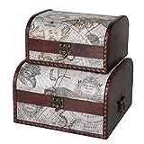 SLPR First Class Wooden Storage Chest (Set of 2, Old Map) | Decorative Antique Wood Trunk Box