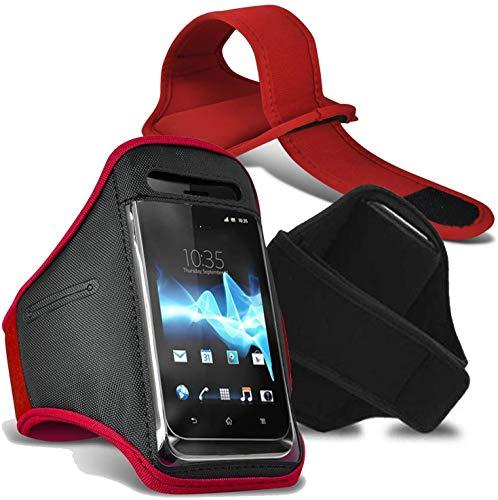 [XXL, Rojo] Deporte Brazalete Impermeable Aptitud Gimnasio Soporte Teléfono para Sharp Aquos S3 Mini