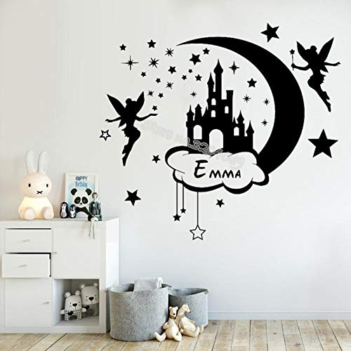 hetingyue Moon Cloud Castle Little Stars Wall Stickers Ripple Fairy Fairy Wand Decals Custom Name Personality Girl Decoration Mural Room 100x90cm