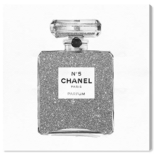 The Oliver Gal Artist Co. Fashion and Glam Wall Art Canvas Prints 'Silver Classic Number 5' Perfumes Home Décor, 30