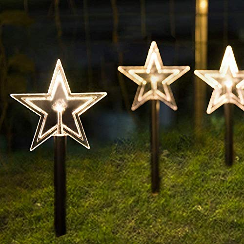 ALULA Solar Pathway Lights Christmas Star LED Garden Path Makers Display Light Warm White for Indoor and Outdoor Holiday Decoration(5pac)