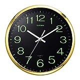 ufengke Reloj de Pared Luminoso Silencioso Oro Reloj Quartz Creativo con Numeros Pare Salon Comedor Dormitorio, Diámetro 30cm