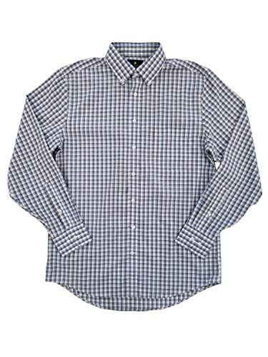 Mens Brown Double Plaid Executive Pinpoint Oxford Button-Down Shirt 16 32-33