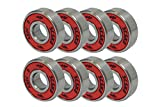 SCSK8 ABEC 9 Bearings Skateboard Longboard Spinner Red Silver 1 Set of (8)
