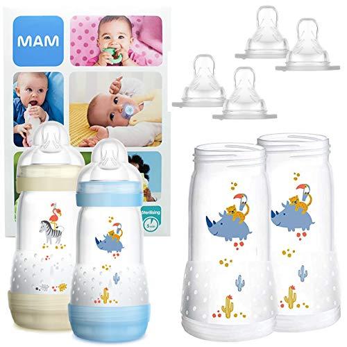 MAM Essential Bottle Set, regalos para bebés de +2 meses, con 2 biberones anticólicos Easy...