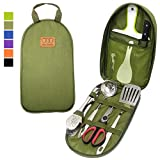 8Pcs Camping Cookware Kitchen Utensil Organizer Travel Set - Portable BBQ Camp Cookware