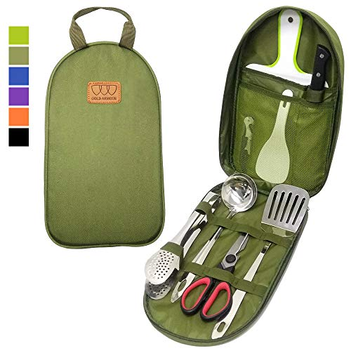 Gold Armour Camp Kitchen Utensil Organizer Travel Set Portable BBQ Camping Cookware Stainless Steel Utensils Travel Kit Outdoor Equipment Cutting Board Tongs Scissors Knife Ladle Spatula