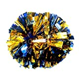 Hooshing 2 Pack Cheerleading Pom Poms Blue and Gold with Baton Handle for Team Spirit Sports Dance Cheering