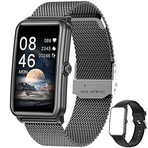 Smartwatch,1.57 Zoll Touchscreen Fitness Armbanduhr, Fitness Tracker mit Pulsuhr, IP68 Wasserdicht Sportuhr mit Schrittzähler Schlafmonitor, Smart Watch für Damen Herren für Android iOS (Schwarz)