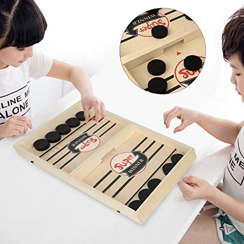 Wooden Hockey Game, Table Desktop Battle 2 in 1 Game, Fast Sling Foosball Puck Board Game, Paced Winner Board Toys, Fast Paced Board Game for Parent-Child/Lovers Interaction (Wooden - 37X24X3.5cm)