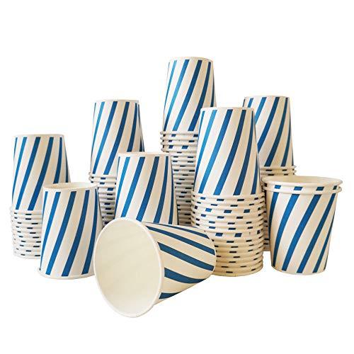 100 Piezas Vaso de Papel 9oz Vaso Desechable para Bebidas Frías y Calientes Biodegradables Vasos Desechables Cafe Raya Azul 250ml