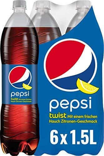 Pepsi Twist, Das Erfrischungsgetränk von Pepsi mit Zitronengeschmack, Koffeinhaltige Cola in der Flasche (6 x 1,5l)