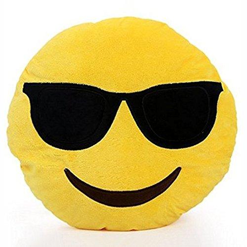 icablelink Emoji Emoticono Cojín Almohada Redonda Emoticon Peluche Bordado Sonriente,Gafas de Sol