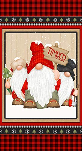 Timber Gnomies Gnome Chirstmas Fabric Panel by Shelly Comiskey from Henry Glass 100% Cotton Quilt Fabric 9277P-89