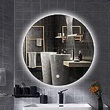 Miroir de Salle de Bains à LED, Rond sans Cadre, commutateur Tactile, Fonction de désembuage