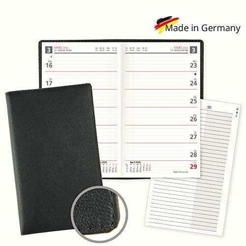 Lederkalender Taschenkalender 2020 aus Leder, Kalendarium als Wochenübersicht Sonn- und Feiertage in Rot mit 8-seitigen Adressheft