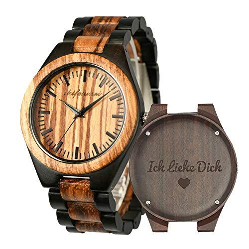 Holzuhren für Männer, Shifenmei Holzuhren natürliche handgemachte Analog Quarz japanische Uhrwerk und Batterie verstellbar Holz Armband leichte Holzuhren mit Exquisite Box (Zebra Ebony-Love4)
