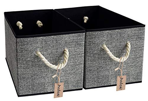 Holo - Juego de 2 cajas de almacenaje plegables con asas de algodón, estantes, caja de tela, organizador, cubos, cesta de almacenamiento, plegable (negro/gris)