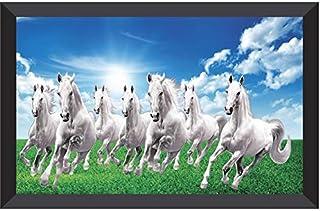 SNDArt 7 Running Horses at Sunrise Vastu UV Textured Multi-Effect Paintings For Living Room With Frame (14 Inch X 20 Inch)...